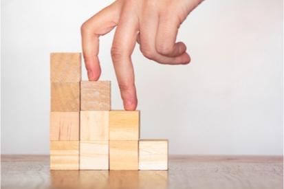 child blocks stacked like steps